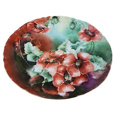 "Attractive Vintage Havilland France 1900 Hand Painted Large ""Burnt Orange Poppies"" 8-1/2"" Floral Plate by Artist Signed"