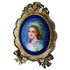 "Exquisite Limoges France Vintage 1900's Hand Painted ""Madame Elizabeth"" 5"" x 3-1/4"" Portrait Plaque by the Artist, ""Kuhn"""