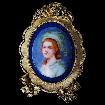 "Exquisite Limoges France Vintage 1900's Hand Painted ""Madame Elizabeth"" 5"" x 3-1/4"" Portrait Plaque by the Artist, ""Kuhn"""
