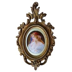 "Wonderful Germany Heubach 1900's Hand Painted ""Aristocratic Lady"" 7-1/4"" x 4-5/8"" Portrait Plaque by Artist, ""Shors"""