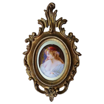 """Wonderful Germany Heubach 1900's Hand Painted """"Aristocratic Lady"""" 7-1/4"""" x 4-5/8"""" Portrait Plaque by Artist, """"Shors"""""""