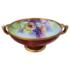 "Exquisite Vintage Rosenthal Selb Bavaria 1900's Hand Painted ""Purple Grapes"" 12-1/2"" Fruit Decor Pedestal Bowl"