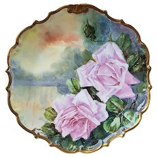 """Gorgeous Vintage LDB & Co. Limoges France 1900's Hand Painted """"Pink Roses Over Water"""" 12"""" Rococo Style Scenic Charger by Artist, """"Rene"""""""