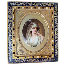 "Exceptional Royal Vienna 1900's Hand Painted ""The Vestal Virgin"" 7"" x 6"" Portrait Plaque Originally Painted By Angelica Kauffmann"