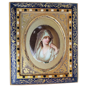 """Exceptional Royal Vienna 1900's Hand Painted """"The Vestal Virgin"""" 7"""" x 6"""" Portrait Plaque Originally Painted By Angelica Kauffmann"""