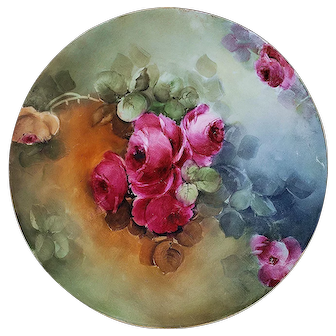 """Oustanding Jean Pouyat Limoges France 1900's Hand Painted """"Deep Red & Yellow Roses"""" 9-1/8"""" Floral Plate"""