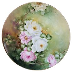 "Gorgeous Limoges France 1912 Hand Painted Lifelike ""Pink & White Roses"" 9-3/4"" Floral Plate by Artist, ""Hazel Peters"""