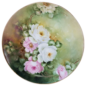 """Gorgeous Limoges France 1912 Hand Painted Lifelike """"Pink & White Roses"""" 9-3/4"""" Floral Plate by Artist, """"Hazel Peters"""""""