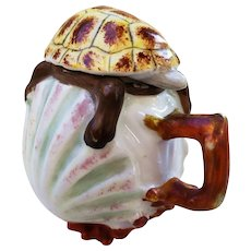 "Outstanding Vintage Majolica 1900's Hand Painted ""Turtle Shape"" Mustard Pot"