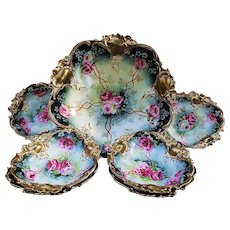 "Fabulous RS Prussia 1900's Hand Painted Vibrant ""Deep Red & White Roses"" & Heavy Gold 7-Pc Floral Bowl & Berry Set"