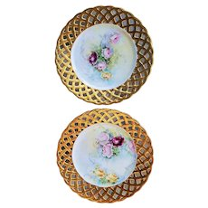 "Stunning Germany 1900's Pair of Hand Painted ""Red, Pink, & Yellow Roses"" Reticulated Floral Plates"