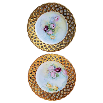 """Stunning Germany 1900's Pair of Hand Painted """"Red, Pink, & Yellow Roses"""" Reticulated Floral Plates"""