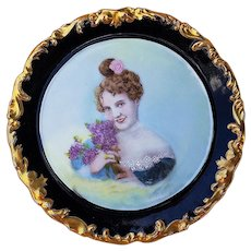 "Wonderful T & V Limoges France 1900's Hand Painted Scene of a ""Lady Holding A Bouquet of Lilacs"" Rococo Style Portrait Plate by Artist, ""Mrs. L. Bensinger"""