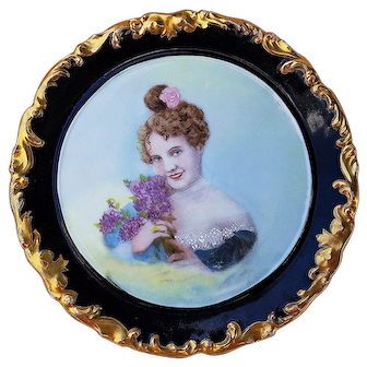"""Wonderful T & V Limoges France 1900's Hand Painted Scene of a """"Lady Holding A Bouquet of Lilacs"""" Rococo Style Portrait Plate by Artist, """"Mrs. L. Bensinger"""""""
