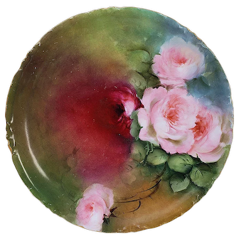 """Vibrant Rosenthal Bavaria Germany 1900's Hand Painted """"Deep Red & Pink Roses"""" 8"""" Floral Plate"""