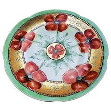 "Beautiful Vintage J & C Bavaria 1900's Hand Painted ""Burnt Orange Poppy"" Floral Plate"
