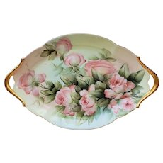 "Gorgeous Vintage T & V Limoges France 1900's Hand Painted ""Peach Roses"" 13""+ Floral Tray by the Artist, ""F.B. Hall"""