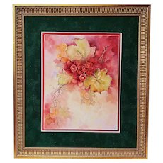 """Gorgeous Bavaria 1900's Hand Painted """"Red & Yellow Grapes""""  16"""" x 14"""" Fruit Decor Plaque"""