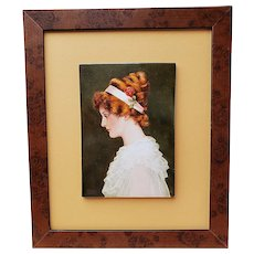 "Outstanding 1900's Hand Painted ""Victorian Lady With Auburn Hair"" 12-5/8"" x 10-1/2"" Portrait Plaque by Listed Artist, ""Willene Hatfield"""