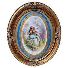 """Gorgeous Vintage Sèvres Pre-1900 Hand Painted """"Victorian Lady Picking Roses"""" 12-1/2"""" x 10-3/8"""" Scenic Plaque"""
