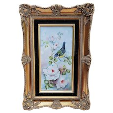 """Charming Bavaria 1900's Hand Painted """"Blue & Yellow Finch With White Roses"""" 18"""" x 12"""" Floral & Scenic Plaque by Artist, """"Bess Underwood"""""""