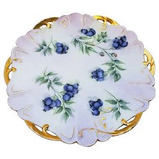 "Attractive Vintage Rosenthal Bavaria 1900's Hand Painted ""Blueberry"" 8"" Fruit Decor Reticulated Plate by the Artist, ""A. Birk"""
