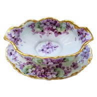 """Spectacular Hutschenreuther Selb Bavaria Germany Vintage 1910 Hand Painted """"Violets"""" Floral Gravy Boat by Listed Chicago Artist, """"William Wands"""""""
