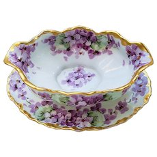 "Spectacular Hutschenreuther Selb Bavaria Germany Vintage 1910 Hand Painted ""Violets"" Floral Gravy Boat by Listed Chicago Artist, ""William Wands"""