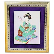 "Gorgeous Limoges 1900's Hand Painted ""Geisha Girl in Turquoise Green Kimono"" 15-3/4"" x 13-3/4"" Scenic Plaque, Artist Signed"