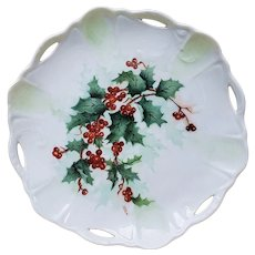 "Beautiful Bavaria 1900's Hand Painted ""Holly & Berry"" 7"" Cut Out & Scallop Christmas Plate, Artist Signed"
