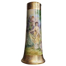 "Breathtaking 20-1/2"" William Guerin Limoges France 1900's Hand Painted ""Lady With Putti's Gathering Roses"" Large Scenic Vase"