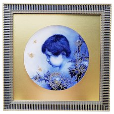 """Museum Quality KPM Pre-1900 Hand Painted Large """"Little Boy Blue"""" 26"""" x 26"""" Frame Portrait Plaque"""