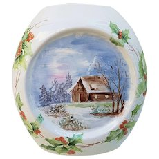 "Beautiful Bavaria 1900's Hand Painted ""Winter Scene House in the Woods"" Holly & Berry Christmas Vase by ""Mrs. Swanson"""
