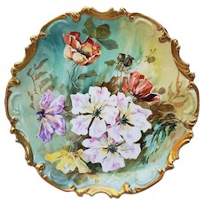 "Stunning Coronet Limoges France 1900's Hand Painted ""Lavender, Yellow, White, & Burnt Orange Poppies"" 13-1/4"" Rococo Style Floral Charger"