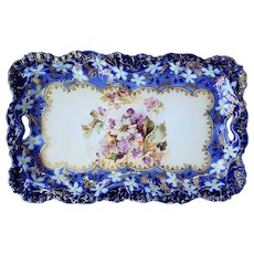 """Stunning RS Prussia 1900's """"White & Lavender Pansy"""" 11-1/2"""" Rosebud Mold Cobalt Blue Floral Tray"""