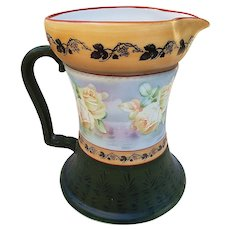 "Large Royal Bayreuth Scarce 1900 Hand Painted ""Grapes & Yellow Roses"" 8-1/4"" Floral Water Pitcher"