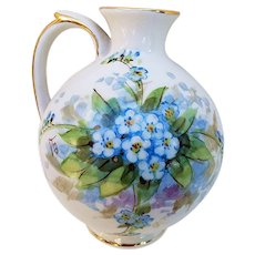 "Beautiful Weisley China 1920-30's Hand Painted ""Forget Me Not"" 5"" Floral Ewer by the Artist, ""Leo"""