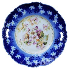 """Gorgeous RS Prussia 1900's Vintage """"Lavender & White Roses"""" 10-1/2"""" Floral Plate"""