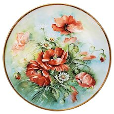 """Spectacular Large 13-5/8"""" T & V Limoges France 1900's Hand Painted """"Burnt Orange Poppies & Daisies"""" Floral Plaque by the Artist, """"Kroes"""""""