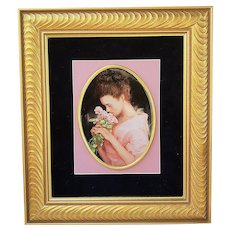 "Beautiful 1900's Hand Painted ""Victorian Lady Smelling Roses"" 19-1/4"" x 16-3/4"" Portrait Plaque by Listed Artist, ""Willene Hatfield"""