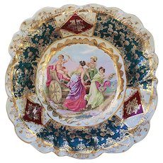 "Outstanding RS Prussia Vintage 1900 ""Three Victorian Women & a Cupid"" 10"" Scenic Bowl With Royal Vienna Colors Signed ""A. Kaufmann"""