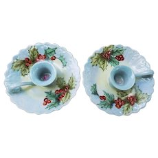 "Beautiful Bavaria 1900's Hand Painted Christmas ""Holly & Berry"" Scallop Chamberstick"