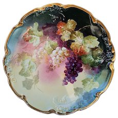 """Exceptional Jean Pouyat Limoges France 1900's Hand Painted """"Purple & Yellow Grapes"""" 11-1/2"""" Vintage Fruit Charger by Artist, """"Segur"""""""