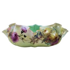 """Fabulous Limoges 1900's Hand Painted """"Purple, Yellow, White, & Pink Mums"""" 9"""" 5-Sided Scallop & Crimp Floral Bowl"""