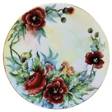 "Gorgeous Bavaria 1905 Hand Painted ""Burnt Orange Poppy"" Floral Plate, Artist Signed"