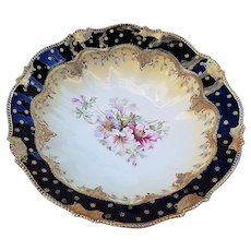 "Gorgeous RS Prussia Vintage 1900 ""Lavender, Red, & White Iris"" 10"" Heavy Gilded Gold & Cobalt Blue Floral Bowl"