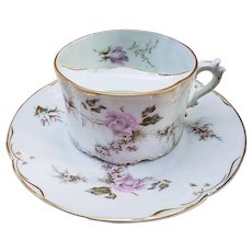 """Exquisite Rosenthal Bavaria 1900's Hand Painted """"Pink Roses"""" Floral Mustache Cup & Saucer"""