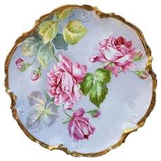 "Wonderful Vintage Coronet Limoges France 1900's Hand Painted Lifelike ""Pink Roses"" 8-1/2"" Floral Plate, Artist Signed"