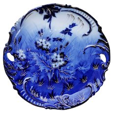 "Outstanding RS Prussia 1900 Hand Painted ""Violets Traced in Gold"" 9-1/2"" Scallop Floral Plate"