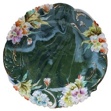 "Scarce RS Prussia 1900's Hand Painted Blown Out ""Lavender, Blue, Green, & Burnt Orange Pansies"" 8"" Green Marbelize Floral Plate"